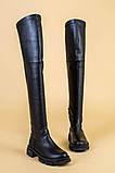 Ботфорты женские кожаные черные на низком ходу деми, фото 10