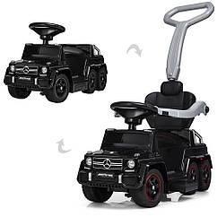 Детский электромобиль каталка-толокар M 3853 EL-3, Mercedes-Benz, резиновые колеса, кожаное сиденье, черный