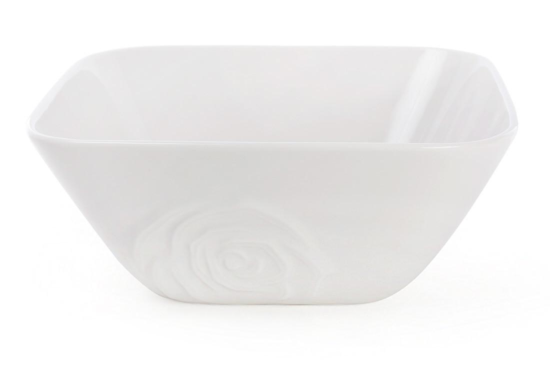 Салатник фарфоровый квадратный с объемным декором Роза 1.6л, цвет - белый BonaDi 558-521