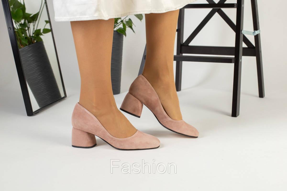 Жіночі замшеві туфлі колір пудра