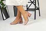 Жіночі замшеві туфлі колір пудра, фото 2