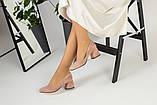 Жіночі замшеві туфлі колір пудра, фото 3