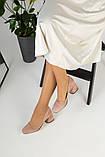 Жіночі замшеві туфлі колір пудра, фото 4