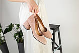 Жіночі замшеві туфлі колір пудра, фото 7