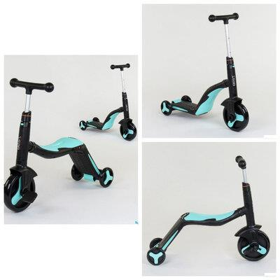 Самокат 3в1 JT 20255 Best Scooter, самокат-велобіг від-велосипед, світло, 8 мелодій, колеса PU, Чорний з Блакитно