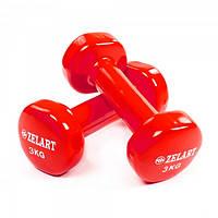 Гантели для фитнеса с виниловым покрытием Zelart Beauty TA-5225-3 Red (LI10068)