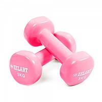 Гантели для фитнеса с виниловым покрытием Zelart Beauty TA-5225-3 Rose (LI10067)