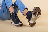 Черевики жіночі шкіряні чорного кольору на світлій підошві демі, фото 6