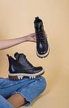 Черевики жіночі шкіряні чорного кольору на світлій підошві демі, фото 8