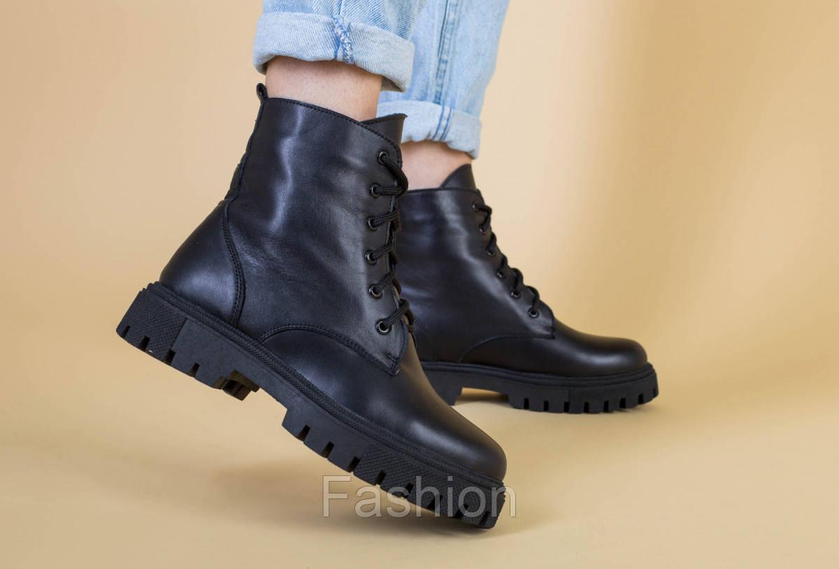 Ботинки женские кожаные черного цвета на шнурках демисезонные
