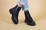 Ботинки женские кожаные черного цвета на шнурках демисезонные, фото 2