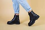 Ботинки женские кожаные черного цвета на шнурках демисезонные, фото 3