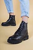 Ботинки женские кожаные черного цвета на шнурках демисезонные, фото 4