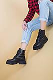 Ботинки женские кожаные черного цвета на шнурках демисезонные, фото 5