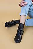 Ботинки женские кожаные черного цвета на шнурках демисезонные, фото 6