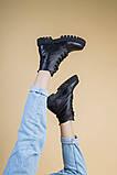 Ботинки женские кожаные черного цвета на шнурках демисезонные, фото 7