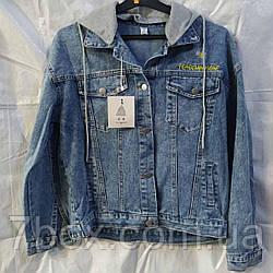 Куртка джинсова жіноча з капюшоном оптом рр M L XL