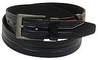Чоловічий шкіряний ремінь під джинси Skipper 1004-38 чорний ДхШ: 133х3,8 див., фото 1