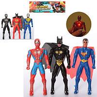 Фигурки для игры 2016B-3 супергерой 3шт,  15см,  свет,  2 вида,  бат (таб),  в шариках,  19-22-3см