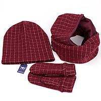 Бордовый набор в клетку? шарф+шапка+варежки