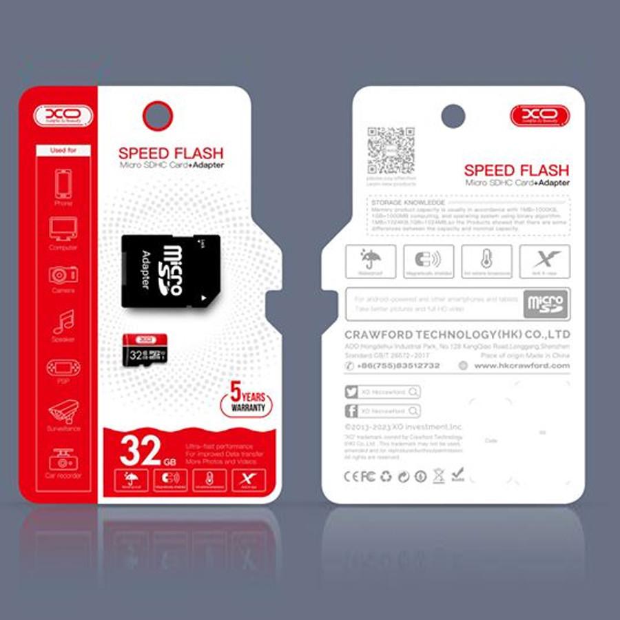 Карта памяти XO micro SD 16GB (10cl) красный/черный