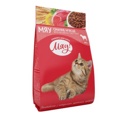 Сухий корм Meow 0,4 кг з м'ясом для котів