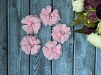 Цветок шифон с бусинами 4,5 см, 20 шт/уп, нежно-розового цвета, фото 1