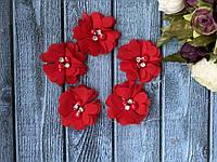 Цветок шифон с бусинами 4,5 см, 20 шт/уп, красного цвета, фото 1