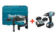 Аккумуляторный бесщеточный перфоратор Makita DHR400ZK+аккумуляторная дрель-шуруповерт Makita DDF453RFX7