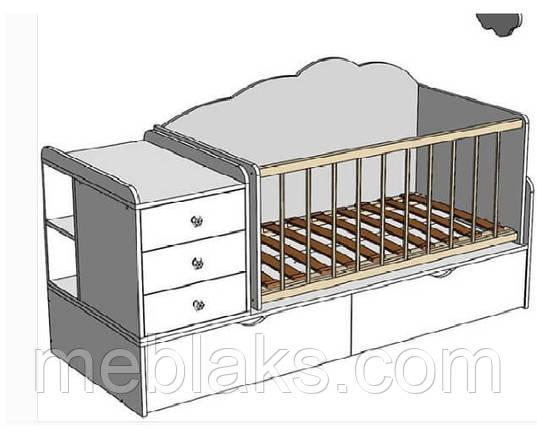 Кроватка трансформер 3В1 ДМ 1121 лаванда/белый 175*74*107, фото 2