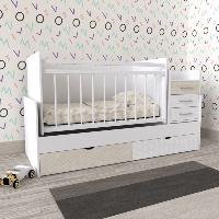 Кроватка детская для новорожденного 3 в 1 ДМ 039 МДФ белая/немо латте 175*74*107