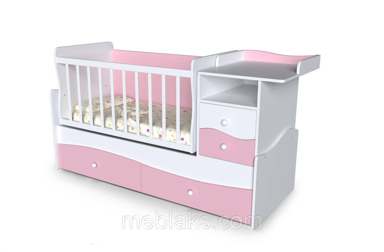 Кроватка трансформер для новорожденного 3 в 1 ДМ-026 белый/сакура 175*74*110