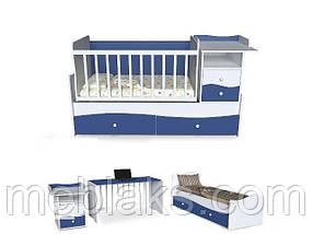 Кроватка трансформер для новорожденного 3 в 1 ДМ-026 белый/сакура 175*74*110, фото 2