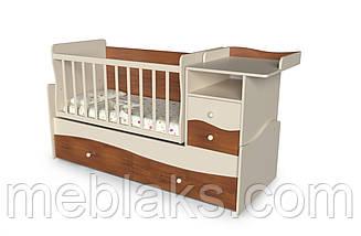Кроватка трансформер для новорожденного 3 в 1 ДМ-026 белый/сакура 175*74*110, фото 3