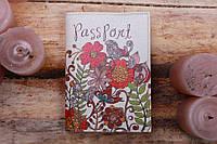 Обложка на паспорт женская Птицы и цветы