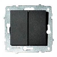 Механизм выключателя 2-клавишного GRANO черный