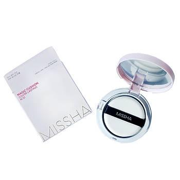 Кушон с экстрактом зеленого чая Missha Magic Cushion Cover Lasting Special Set 21+21(R)+Puff SPF50+/PA+++