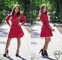 Платье халат юбка в два яруса на пуговицах красное