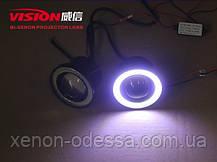 Мощные противотуманные фонари COB LED ПТФ линзы 65 мм + Ангельские глазки, фото 2