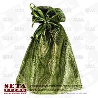 Зеленый подарочный мешочек 12х16(11) см блестящий из органзы, полупрозрачный