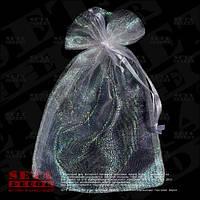 Белый подарочный мешочек 12х16(11) см блестящий из органзы