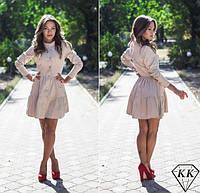 Платье халат юбка в два яруса на пуговицах бежевое