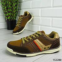 """Кроссовки мужские, коричневые """"Co&1986"""" эко кожа + эко замша, мокасины мужские, кеды мужские, обувь мужская"""