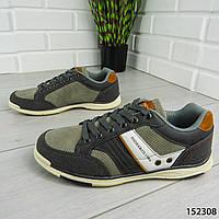 """Кроссовки мужские, серые """"Co&1986"""" эко кожа + эко замша, мокасины мужские, кеды мужские, обувь мужская"""