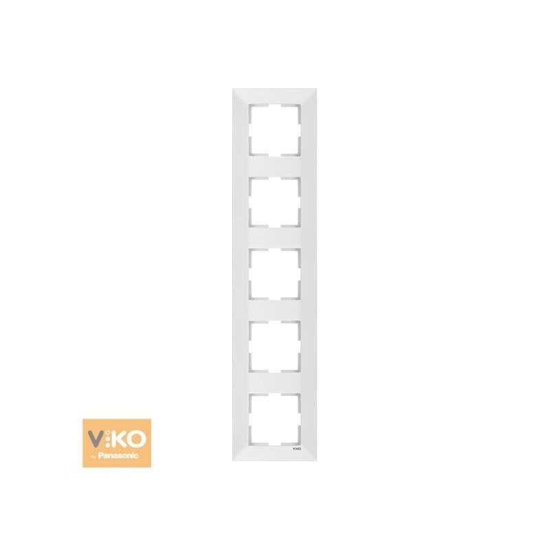 Рамка пятерная вертикальная VIKO Meridian - Белый