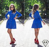 Платье халат юбка в два яруса на пуговицах электрик