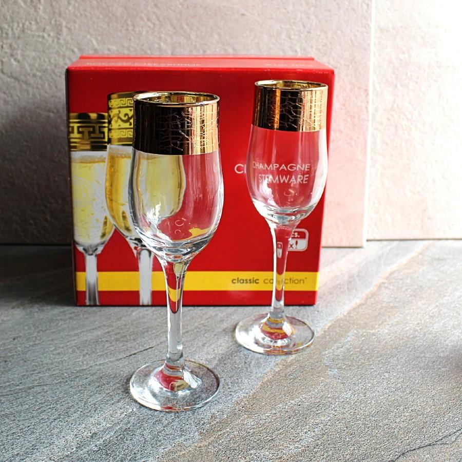 Набір келихів для шампанського з позолотою 6 шт Promsize Кракелюр 150 мл (TRV267-160)