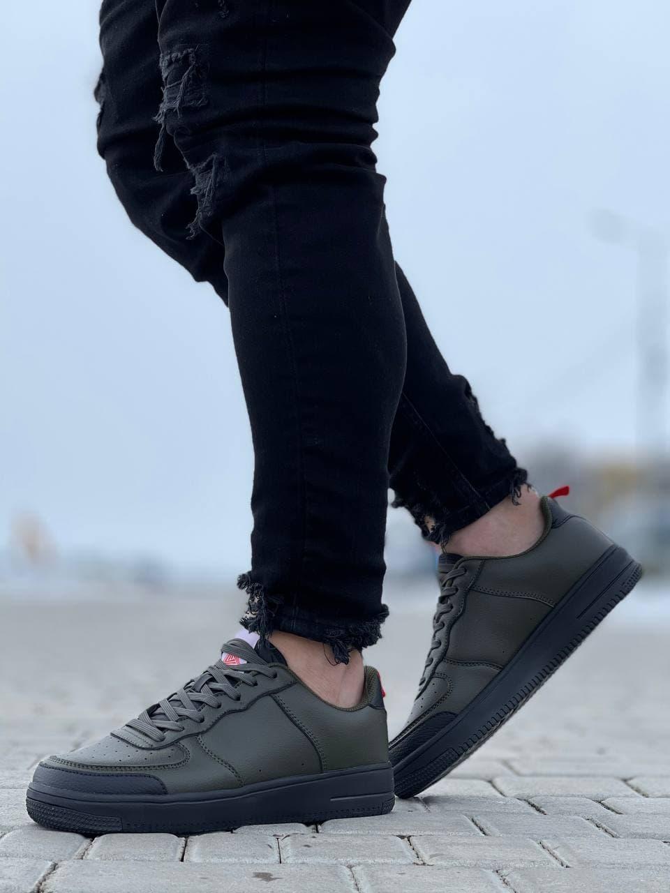 Мужские кроссовки  41-45 зеленые осень   весна 074