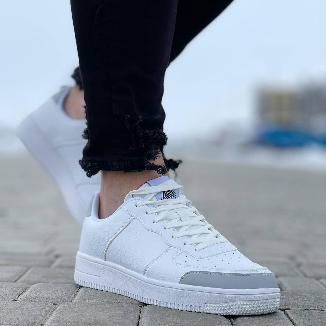 Мужские кроссовки  41-45 белые с серым осень | весна 076