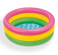 Детский надувной бассейн снадувным дном Пляжные друзья Intex 57107NP